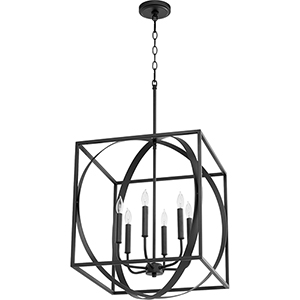 Black 18-Inch Six-Light Pendant
