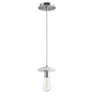 Satin Nickel and White Marble One-Light Mini Pendant