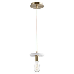 Aged Brass and White Marble One-Light Mini Pendant
