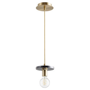 Aged Brass and Black Marble One-Light Mini Pendant