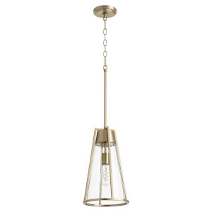 Aged Brass and Clear One-Light Mini Pendant