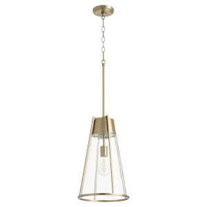 Aged Brass and Clear One-Light 11-Inch Pendant