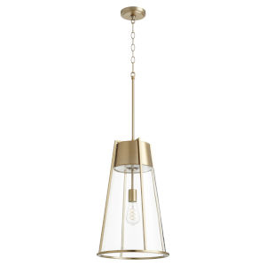 Aged Brass and Clear One-Light 13-Inch Pendant