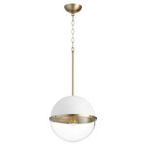 Studio White and Aged Brass One-Light 13-Inch Pendant