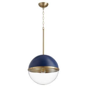Blue and Aged Brass One-Light 13-Inch Pendant