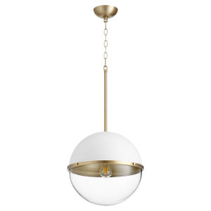 Studio White and Aged Brass One-Light 15-Inch Pendant