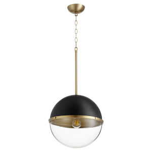 Noir and Aged Brass One-Light 15-Inch Pendant