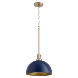 Blue and Aged Brass One-Light 12-Inch Pendant
