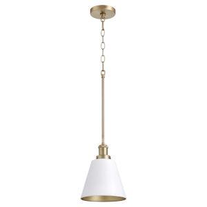 Studio White and Aged Brass One-Light 10-Inch Mini Pendant