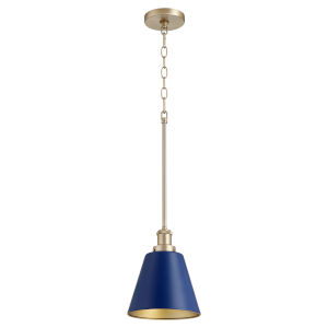 Blue and Aged Brass One-Light Mini Pendant