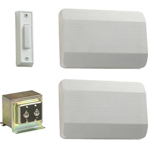 White Two Story and Front Door Chime Kit with White Plastic Covers