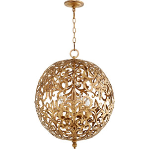 Le Monde Vintage Gold Leaf 20-Inch Four-Light Globe Pendant