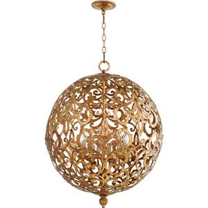 Le Monde Vintage Gold Leaf 24-Inch Six-Light Globe Pendant