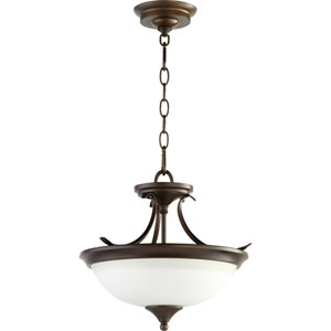 Flora Oiled Bronze Two-Light 14-Inch Pendant