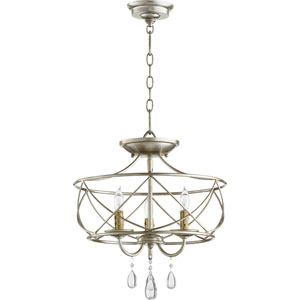 Cilia Aged Silver Leaf Three-Light Chandelier