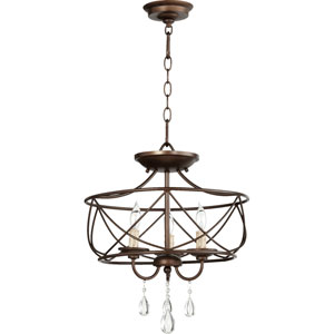 Cilia Oiled Bronze 16-Inch Three-Light Convertible Pendant
