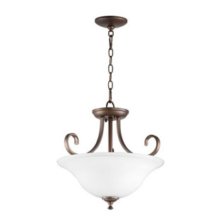 Celesta Oiled Bronze with Satin Opal Glass Two-Light Pendant