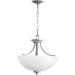 Reyes Classic Nickel Three Light Dual Mount Pendant with Satin Opal Glass