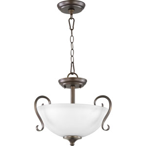 Powell Oiled Bronze with Satin Opal Glass Two-Light Pendant