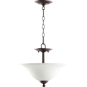 Spencer Oiled Bronze with Satin Opal Glass Two-Light Pendant