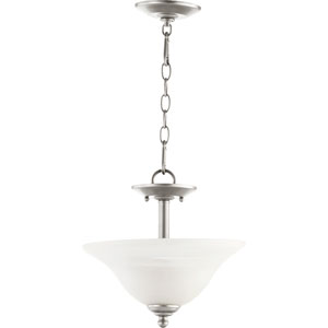 Spencer Classic Nickel Two Light Dual Mount Pendant with Faux Alabauster Glass