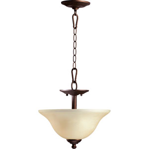 Spencer Oiled Bronze Two-Light Dual Mount Pendant with Amber Scavo Glass