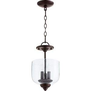 Richmond Oiled Bronze with Clear Seeded Glass Three-Light 14-Inch Mini Pendant
