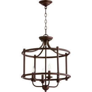 Rossington Oiled Bronze Four-Light 19-Inch Pendant