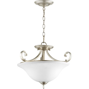 Bryant Aged Silver Leaf 18-Inch Three-Light Dual Mount Pendant