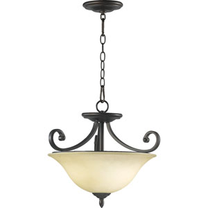 Bryant Three-Light Oiled Bronze with Antique Gold Convertible Pendant