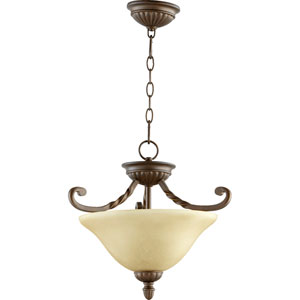 Tribeca Ii Oiled Bronze Two Light Dual Mount Pendant with Amber Scavo Glass