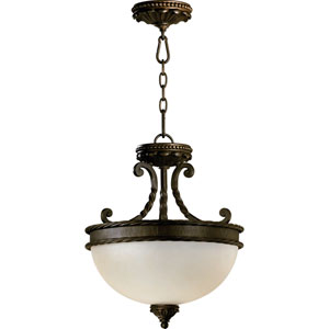 Alameda Two-Light Oiled Bronze with Antique Gold Convertible Pendant