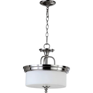 Rockwood Satin Nickel Three-Light Dual Mount Pendant with Opal Glass