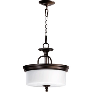 Rockwood Oiled Bronze Three-Light Dual Mount Pendant with Opal Glass