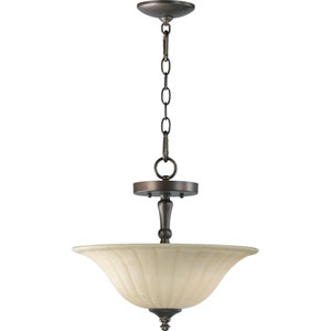 Randolph Two-Light Oiled Bronze with Antique Gold Convertible Pendant