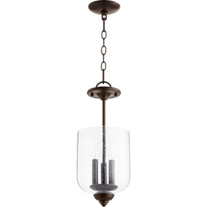 Richmond Oiled Bronze with Clear Seeded Glass Three-Light 17-Inch Mini Pendant