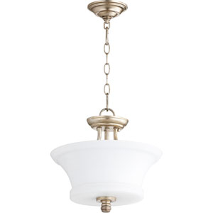 Rossington Aged Silver Leaf Two-Light 13-Inch Pendant