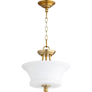 Rossington Aged Brass Two-Light 13-Inch Pendant