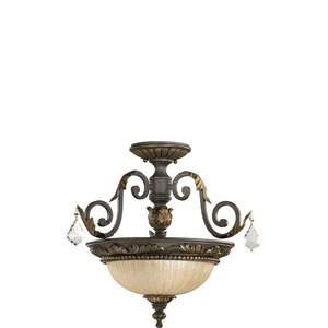Rio Salado Two-Light Toasted Sienna with Mystic Silver Convertible Semi-Flush