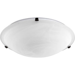 Oiled Bronze 20-Inch Four-Light Flush Mount with Faux Alabaster Glass