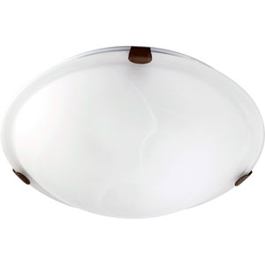 Oiled Bronze 12-Inch Flush Mount with Faux Alabaster Glass