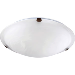 Oiled Bronze 16-Inch Flush Mount with Faux Alabaster Glass
