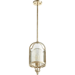 Lucca Aged Silver Leaf 8-Inch One-Light Mini Pendant