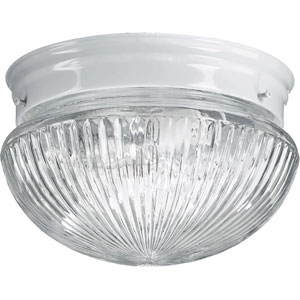 Mushroom Two-Light White Flush Mount