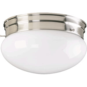 Mushroom Two-Light Satin Nickel Flush Mount