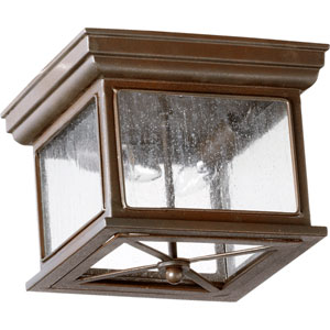 Magnolia Oiled Bronze Two Light Outdoor Flush Mount with Clear Seeded Glass