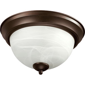Oiled Bronze 15-Inch Flush Mount with Faux Alabaster Glass