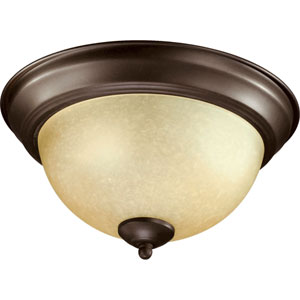 Oiled Bronze 11-Inch Flush Mount with Amber Scavo Glass