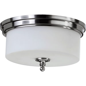 Rockwood Satin Nickel Three-Light Flush Mount with Satin Opal Glass
