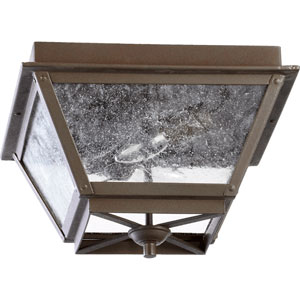 Emile Oiled Bronze Two Light Outdoor Flush Mount with Clear Seeded Glass